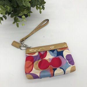 Coach Color Monogram Satin Patent Leather Wristlet